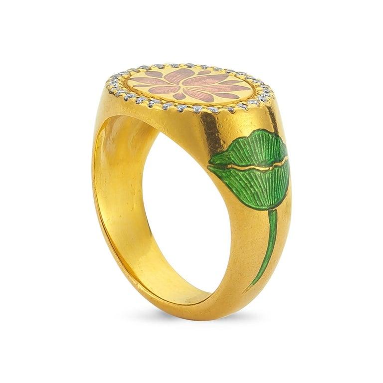 Artisan Kamala Ring with 31 Diamonds and Jaipur Enamel Lotus Motif, 22 Karat Yellow Gold For Sale