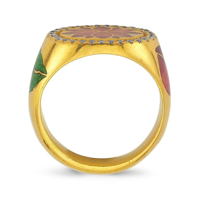 Round Cut Kamala Ring with 31 Diamonds and Jaipur Enamel Lotus Motif, 22 Karat Yellow Gold For Sale