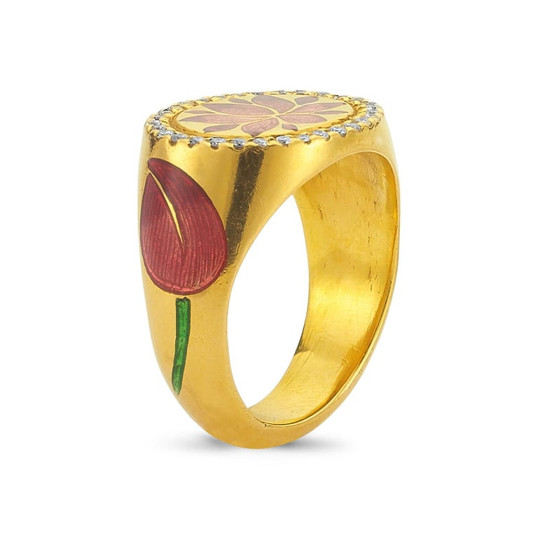 Kamala Ring with 31 Diamonds and Jaipur Enamel Lotus Motif, 22 Karat Yellow Gold In New Condition For Sale In Kew, Victoria