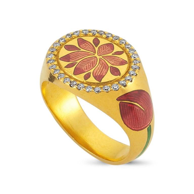 Women's Kamala Ring with 31 Diamonds and Jaipur Enamel Lotus Motif, 22 Karat Yellow Gold For Sale