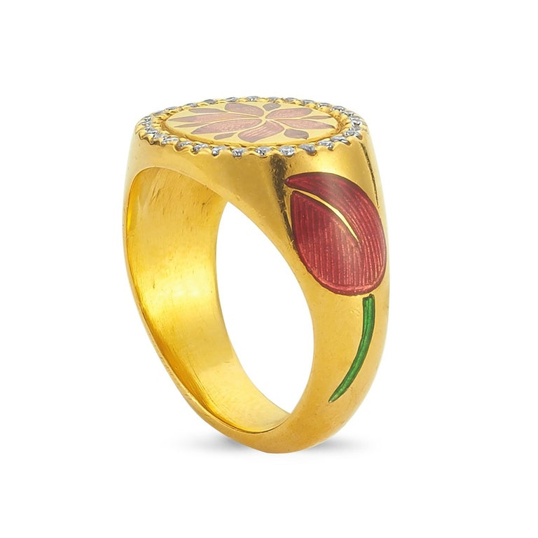 Kamala Ring with 31 Diamonds and Jaipur Enamel Lotus Motif, 22 Karat Yellow Gold For Sale 1