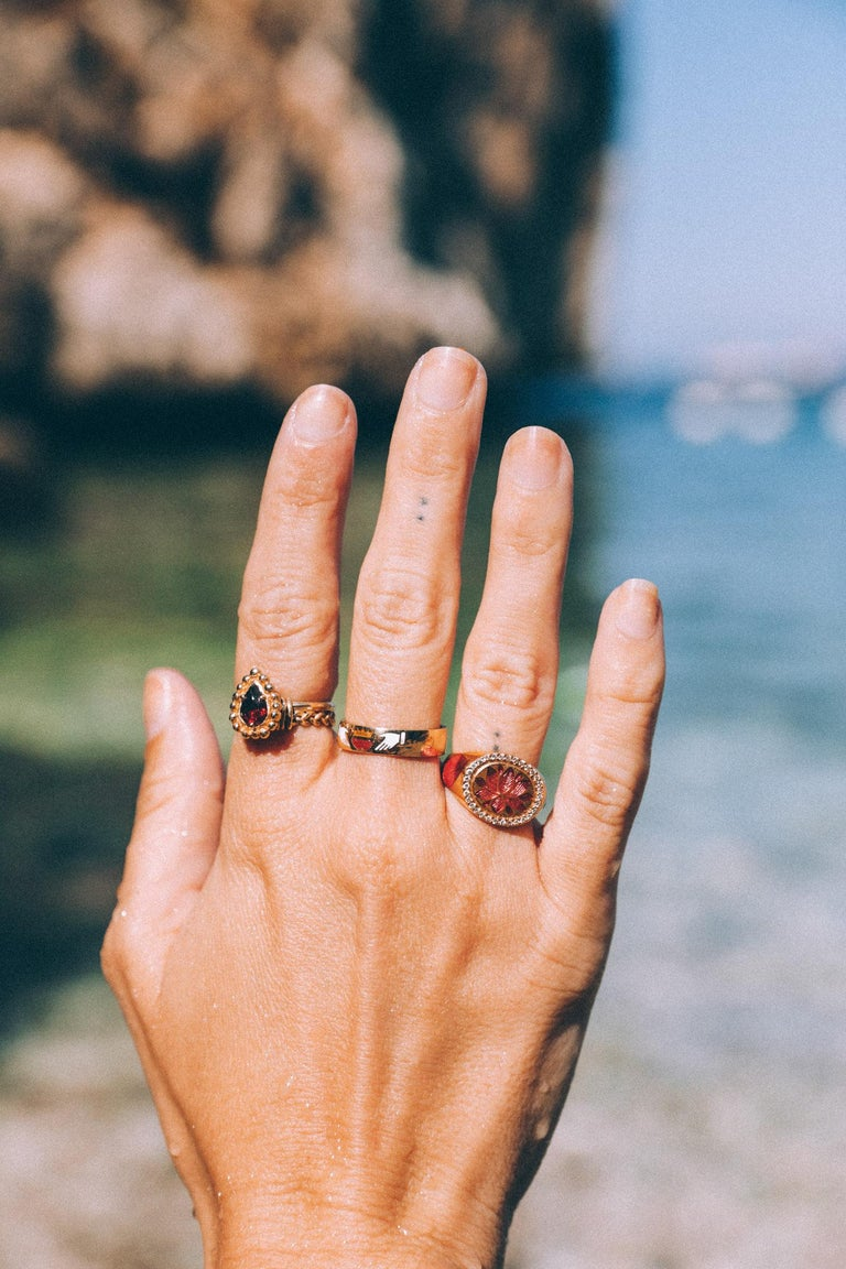 Kamala Ring with 31 Diamonds and Jaipur Enamel Lotus Motif, 22 Karat Yellow Gold For Sale 5