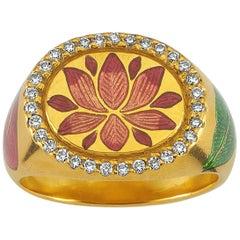Kamala Ring with 31 Diamonds and Jaipur Enamel Lotus Motif, 22 Karat Yellow Gold