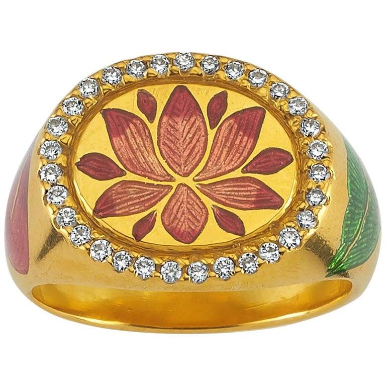 Kamala Ring with 31 Diamonds and Jaipur Enamel Lotus Motif, 22 Karat Yellow Gold For Sale