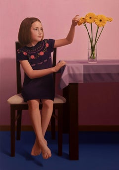 Gerberas - Contemporary Figurative Oil Painting, Realistic Little Girl Portrait