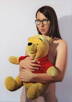Girl with Winnie-The-Pooh- XXI C, Young art, Figurative painting, Photorealism