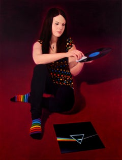 Vinyl - Contemporary Figurative Oil Painting, Realistic Girl Portrait