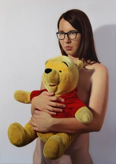 Winnie the Pooh - Contemporary Figurative Oil Painting, Realistic Girl Portrait
