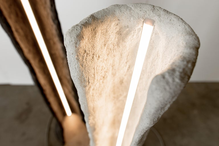 Appliqué Kamino Floor Lamp, Handmade LED Lighting Fixture in Concrete and Latex by Mtharu For Sale