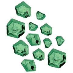 Kamyki 12 Set Polished Emerald Color Stainless Steel Hanger by Zieta