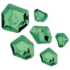 Kamyki 6 Set Polished Emerald Color Stainless Steel Hanger by Zieta