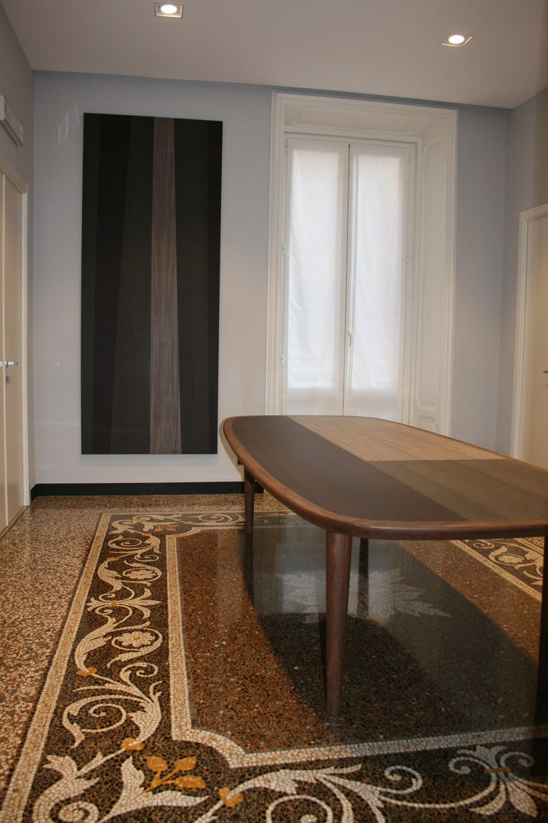 Italian Kanan Luxury Dining Table, Walnut Canaletto Structure and Four Wooden Veneers For Sale