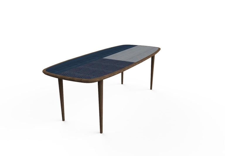Kanan Luxury Dining Table, Walnut Canaletto Structure and Four Wooden Veneers In New Condition For Sale In Milano, IT