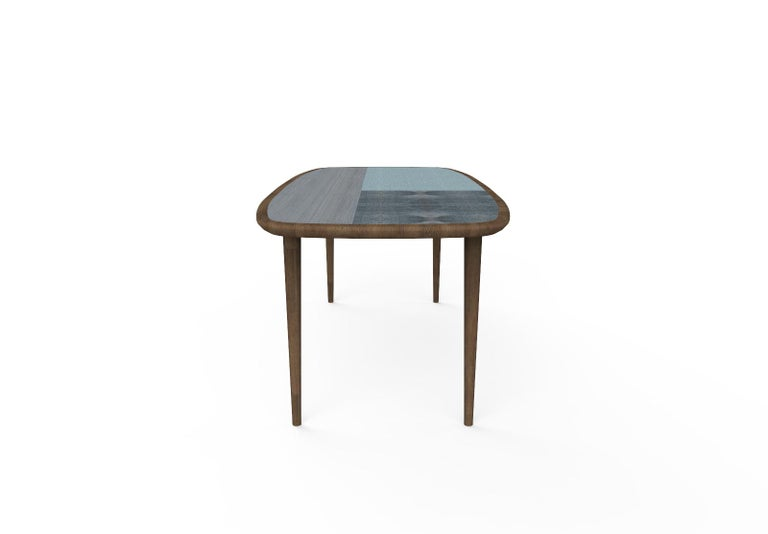 Contemporary Kanan Luxury Dining Table, Walnut Canaletto Structure and Four Wooden Veneers For Sale