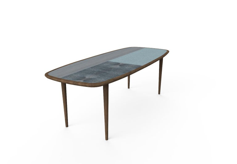 Kanan Luxury Dining Table, Walnut Canaletto Structure and Four Wooden Veneers For Sale 1