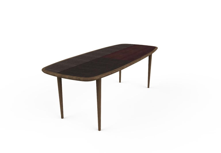 Kanan Luxury Dining Table, Walnut Canaletto Structure and Four Wooden Veneers For Sale 2