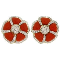 Kanaris Diamond Natural Red Coral Yellow Gold Clip-On Earrings