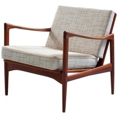 'Kandidaten' Chair by Ib Kofod-Larsen in Teak and Fabric for OPE, Sweden, 1960s