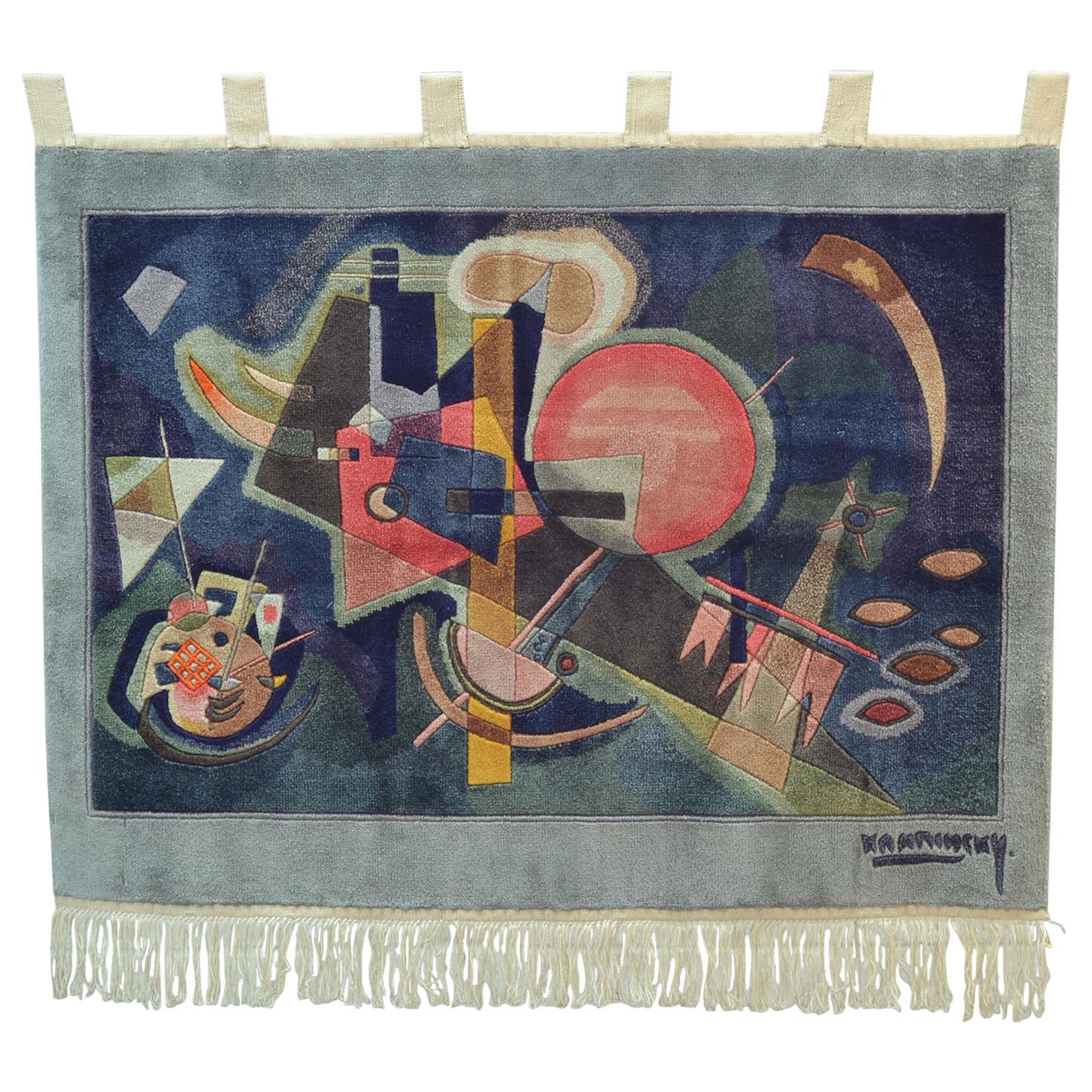Kandinsky Silk Woven Wall Tapestry by Carpet Weavers Accociation
