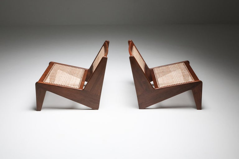 Teak low chair, Kangaroo, a pair, Pierre Jeanneret, India 1955  Low chairs known as