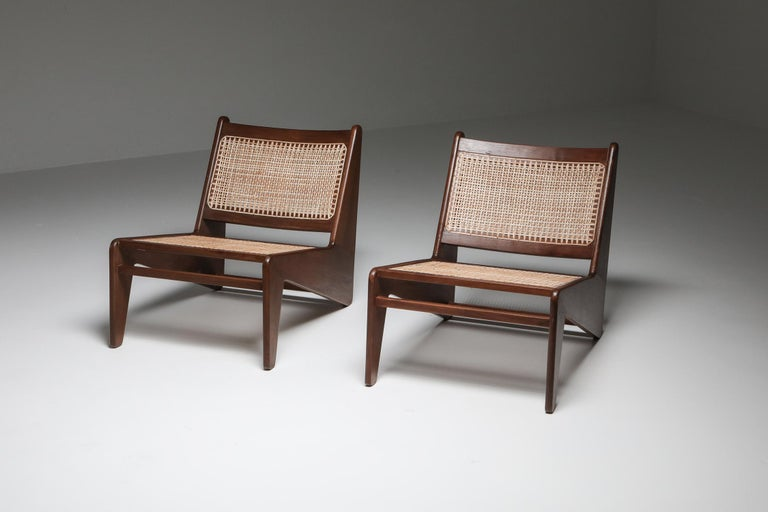 Kangourou Chairs by Jeanneret, Chandigarh, 1955 In Good Condition For Sale In Antwerp, BE