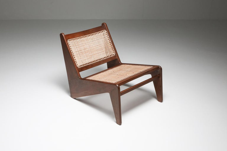 Cane Kangourou Chairs by Jeanneret, Chandigarh, 1955 For Sale