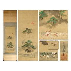 Kano School ca 1700 Scene Edo Period Scroll Japan 17/18c Artist Tosa Mitsunari