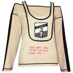 Kansai Yamamoto 1980s Vintage Rare Printed Jersey Cut-Out Shoulder Top