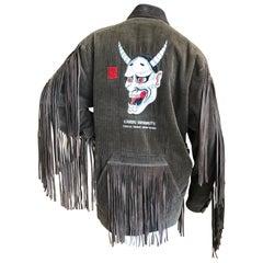 KANSAI YAMAMOTO 1981 Rare Collectible Unisex Embellished Jacket w Suede Fringe