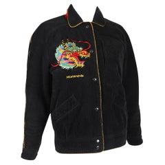 Kansai Yamamoto Black Corduroy Jacket w/Embroidered Dragon Motif