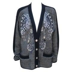 Kansai Yamamoto Black, White & Silver Beaded Wool Sweater, 1980's