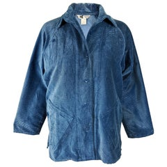 Kansai Yamamoto Blue Corduroy Womens Coat, 1970s
