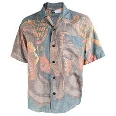 Kansai Yamamoto Mens Cowboy Print Vintage Shirt