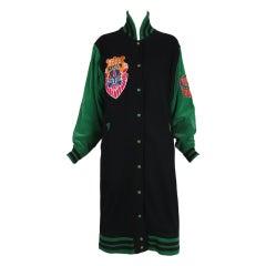 Kansai Yamamoto Oversized Black & Green Varsity Jacket
