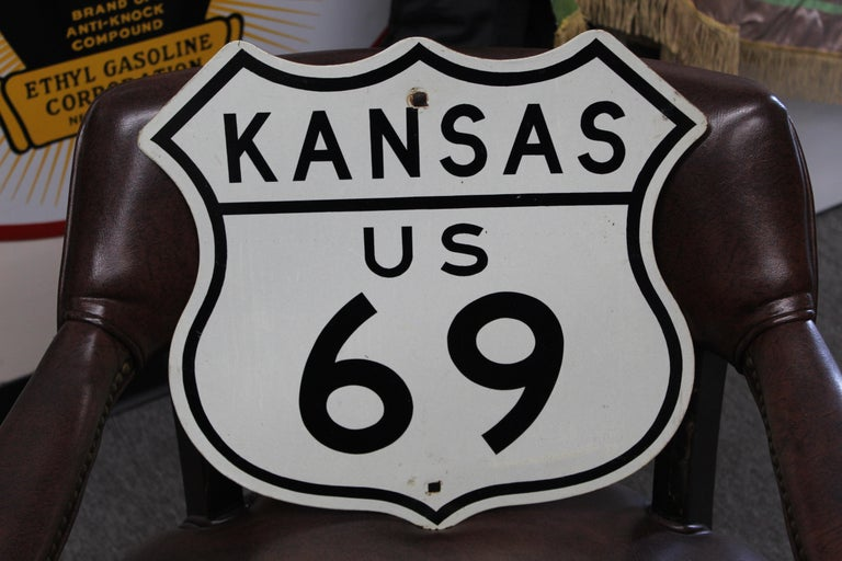 U.S. Route 69 is a major north–south United States highway. This is a smaller sign so normally would be found on the freeway entrance sign or on mile markers.
