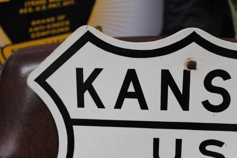 Mid-Century Modern Kansas US Route 69 Highway Reflective Sign For Sale
