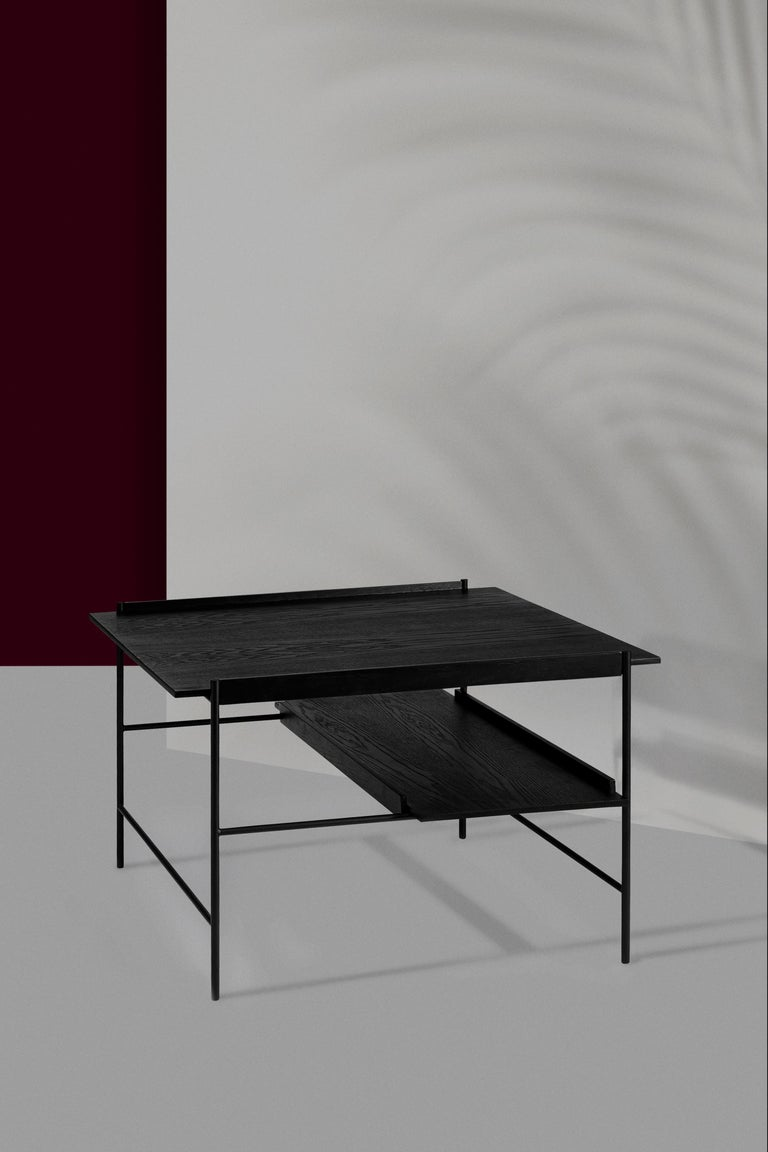 Kanso Coffee Table in Wood and Steel For Sale 2
