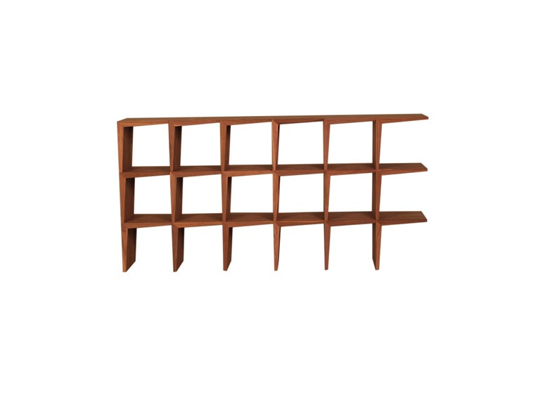 Hand-Crafted Kant, Contemporary Freestanding Bookcase Made of Walnut Canaletto Wood For Sale