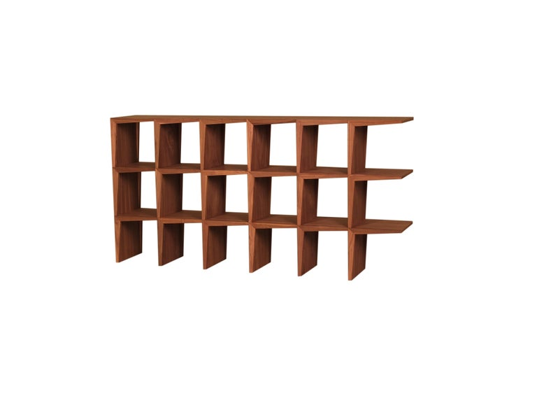 Kant, Contemporary Freestanding Bookcase Made of Walnut Canaletto Wood In New Condition For Sale In Salizzole, IT