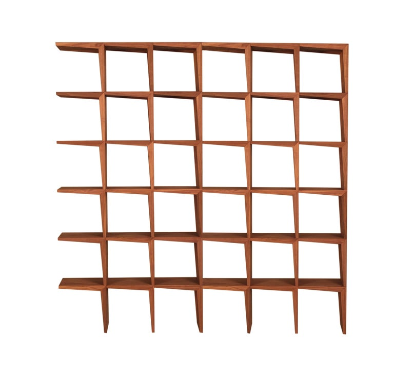 Kant, Contemporary Freestanding Bookcase Made of Walnut Canaletto Wood For Sale 1