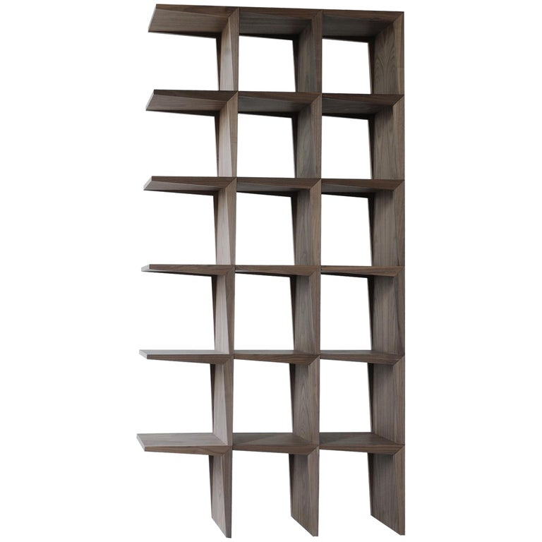Kant, Contemporary Freestanding Bookcase Made of Walnut Canaletto Wood For Sale