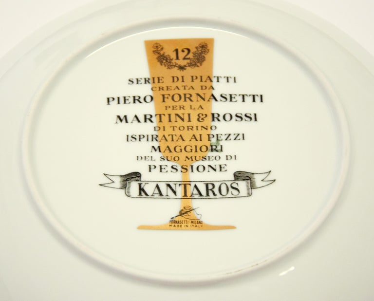 Kantaros Plate for Martini & Rossi, by P. Fornasetti, 1960s In Excellent Condition For Sale In Roma, IT