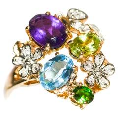 Kantis 14 Karat Amethyst Chrome Diopside Blue Topaz Peridot Amethyst Ring