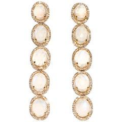 Kantis 14 Karat Diamond and Multi-Faceted Moonstone Drop Dangle Pierced Earrings
