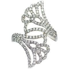 Kantis 14 Karat Double Fan Shape Diamond Ring