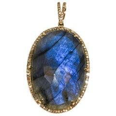 Kantis 14 Karat Oval Rutilated Labradorite and Diamond Pendant