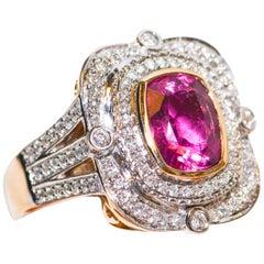 Kantis 14 Karat Two-Tone Cushion Cut Rubellite and Diamond Ring