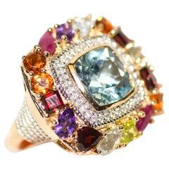 Kantis 14k Cushion Cut Blue Topaz Ruby Peridot Garnet Amethyst and Diamond Ring