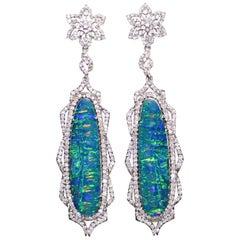 Kantis 18 Karat Boulder Opal and Diamond Dangle Drop Earrings