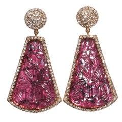 Kantis 18 Karat Carved Violet Tourmaline and Diamond Dangle Drop Earrings